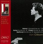 Brahms: 2 Klavierstücke Op. 118, Barber: Sonate Op. 26, Chopin: Sonate Op. 58, Beethoven: Sonate Op. 57 Appassionata